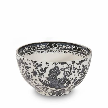 Black Regal Peacock Mini Footed Bowl