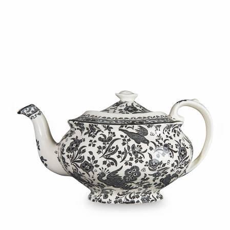 Black Regal Peacock Teapot