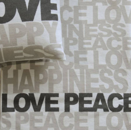 Love Peace Happiness Blanket White