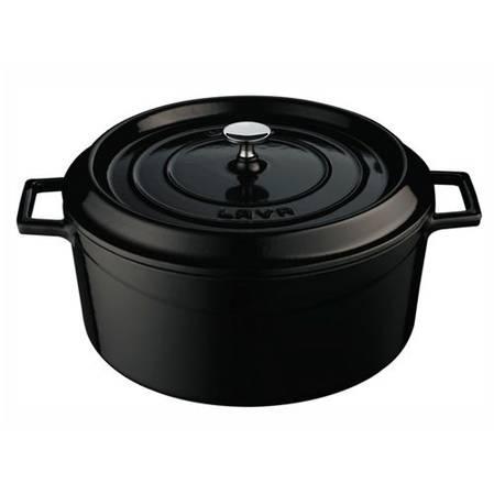 Lava Cast Iron Round 24cm Casserole 4.5L Black