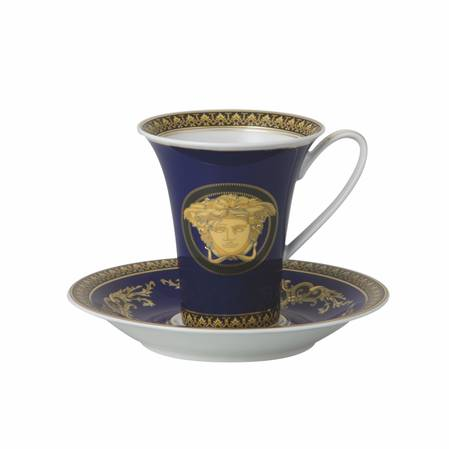 Medusa Blue Cup and Saucer Tall