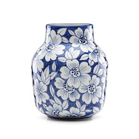 Painted Indigo Floral Tapered Vase