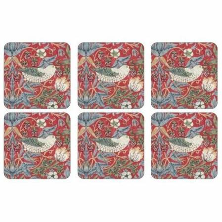 Strawberry Thief Red Coasters Set of 6
