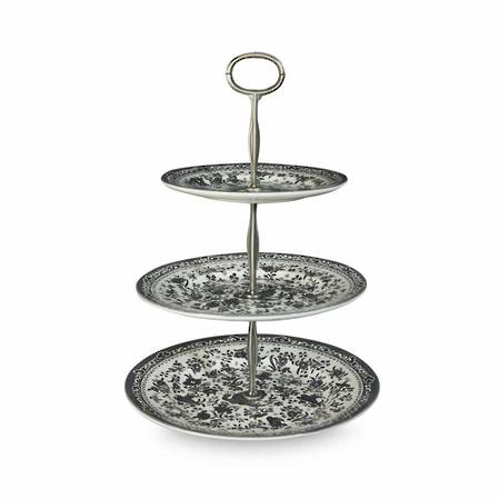 Black Regal Peacock Three Tier Cakestand