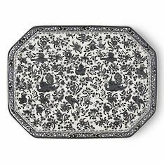 Black Regal Peacock Rectangle Platter