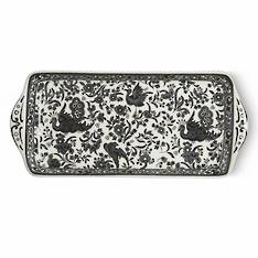 Black Regal Peacock Rectangular Tray