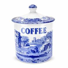 Blue Italian Covered Canister Coffee