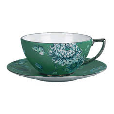 Chinoiserie Green Cup & Saucer Pair