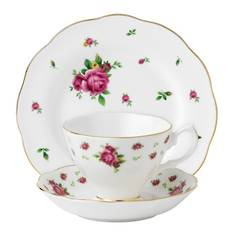 New Country Roses White Cup, Saucer & Plate