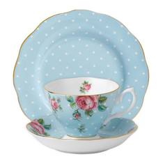 Polka Blue Cup, Saucer & Plate