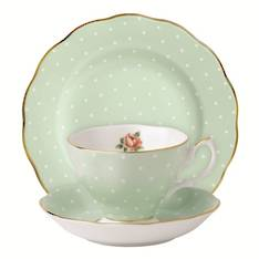 Polka Rose Cup, Saucer & Plate