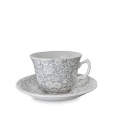 Dove Grey Calico Teacup & Saucer