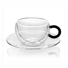 Colours Break Espresso Cup & Saucer Set 2 Black Handle