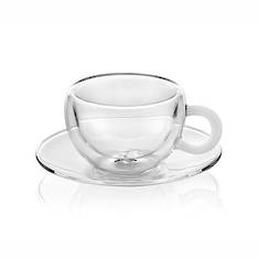Colours Break Espresso Cup & Saucer Set 2 White Handle