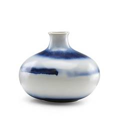 Painted Indigo Drip Glaze Low Vase