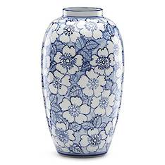 Painted Indigo Floral Tall Vase