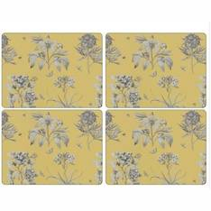 Etchings & Roses Yellow Tablemats Set of 4