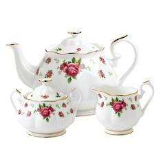 New Country Roses White Teaset 3 Piece