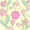 Happy Birthday Card pink flowers-485