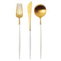 Goa White & Matt Gold 58 Piece Cutlery Set